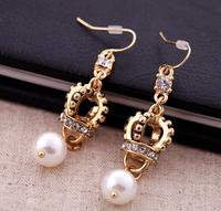 J*WELL Premier Jewelry Vintage Crown Dangle Pearl Gold Tone Crystal Queen's Cross Drop Royal Elegant Woman Pierced Earrings