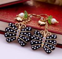 2014 Premier Jewelry Black Polka Dot Butterfly Dangle Pearl Fashion Accessories Lucky Women's Brand New BJ Pierced Earrings