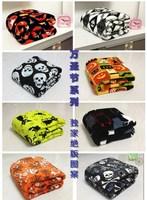 Coral fleece blanket air conditioning blanket bed sheets towel halloween series of print skull