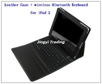 Leather Case + wireless Bluetooth Keyboard for iPad 2 stand bag free shipping 8636