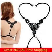 Min Order $10(Mix Items)Fashion Women's Sexy Underwear Bra Accessories Black Shoulder Straps Baldric Bowknot Cross Straps
