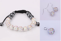 PDRS-SB001AB,Wholesale ,11 beads , Handmade  polymer clay shamballa crystal bracelet , jewelry sets , necklace ,earrings