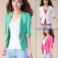 Summer fashion women's 2013 short design top plus size half sleeve slim thin outerwear cardigan blazer