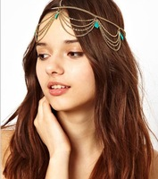 12pcs/lot Wholesale Free Shipping Fashion Hair Jewelry Chic chain Cuff Pin Head Turquoise Chains Tassels Fringes