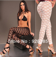 Top selling! Nylon Spandex Stretch Lace Legging Rose Sexy Leggings Sheer Lace  Free size #L022