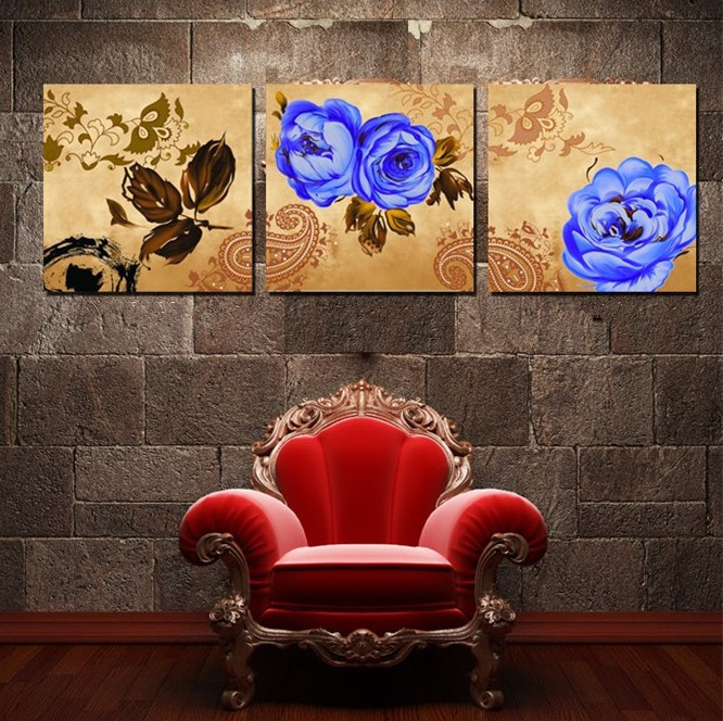 Flower Printed 3 Piece Art Prints Blue Flower
