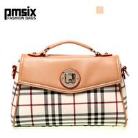Fashion pmsix2013 women's british style plaid cross-body handbag pvc one shoulder women's handbag