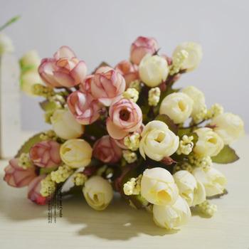 Artificial flowers silk flower vase packbasket 15 small bud
