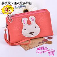 New arrival double zipper design portable cartoon short wallet bag women's mobile phone coin purse key wrist length card holder