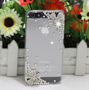 1pcs Free Shipping Handmade (Flowers)  case for iphone5 5s case phone bag protective sleeve shell phone shell diamond