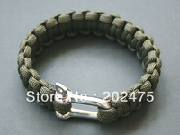 50pcs/lot stainless steel buckle Metal U Clasp paracord survival bracelet  length: 9-10inch