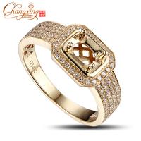 4x6mm Oval 14k Yellow Gold Full Cut Diamond Semi Mount Engagement Ring Settings