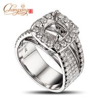 CUSHION 7.5x7mm 14k WHITE GOLD 2.65ct DIAMOND ENGAGEMENT SEMI MOUNT SETTING RING