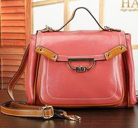 New 2014 women's genuine leather handbag color block tote women shoulder bags cowhide handbags designer brand messenger bag