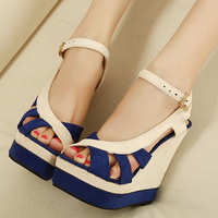 Wedges sandals women's shoes 2013 color block decoration high-heeled shoes fashion princess sexy