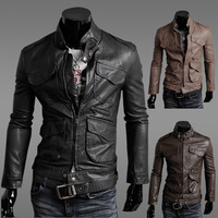 2013NEW Hot Selling Classic Men's Leather Jackets Men's Clothing Motorcycle Slim Leather Jacket Black,khaki,Coffee M-XXL