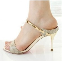 New arrival 2013 HASSON fashion thin heels slippers open toe high-heeled sandals female 33 small yards