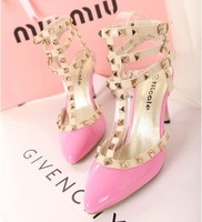 2013 spring and summer val chili Warren classic pointed toe rivet vintage punk high-heeled shoes