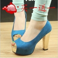 Fashion sexy high-heeled shoes thick heel princess color block 2013 platform open toe shoe single shoes women's shoes