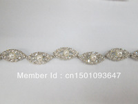 (K26)1yd Clear Rhinestone Cream Pearl Silver Tone Chain Costume Embellishment Trims