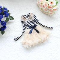 girl's fashion sequin Collar dress kids Striped dress Children's Net Yarn Tulle Ball Gown Dresses Kid Stripe dress Drop Shipping