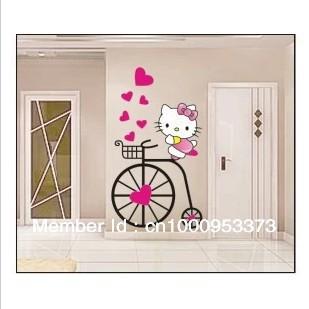 Free shipping 32*57cm E9013 wall sticker factory direct Korean cartoon creative Wall Stickers Hello Kitty children wall stickers(China (Mainland))