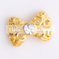 Xmas Item Free Shipping Wholesale/Nails Supply, 50pcs 3D Alloy Glitter Gold Bowtie DIY Acrylic Nail Design/Nail Art, Unique Gift