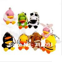 Drop Free Shipping,Q Style Duck Toy Figures,Garage Kit,Animal Keychain,Fashion Keyring,6cm,15 Styles,4PCS/LOT