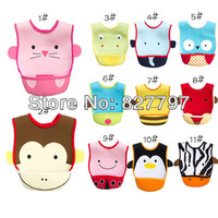 10 pcs/Lot Free Shipping Zoo Animal Baby Bibs Cartoon 13 Design Waterproof Infant Velcro Bibs towels Baby Wear High Quality