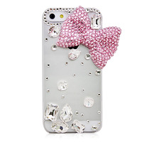 Top Quality Transparent 3D Crystal Pink Bowknot Rhinestone Hard Case Cover For Apple iphone 5