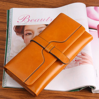 2013 wallet female long design large capacity genuine leather oil waxing leather lovers wallet