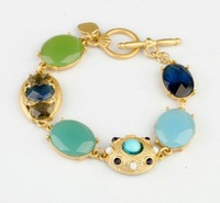 2013 new Fashion blue stone gem bracelet Women elegant designer statement wholesale freeshipping