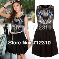 Drop Shipping  Ne European Animal Cat Face Print Dresses Charming Good Quality Designer Women Dress S M L WD71