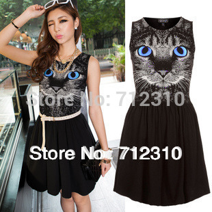 Free Shipping Women's European Style Skirt Animal Cat Face Print Charming Dress S M L WD71(China (Mainland))