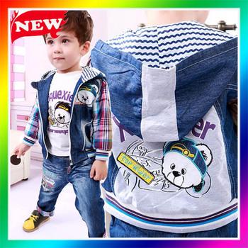 3pcs/lot autumn 2013 new fashion boys kids outfits denim  jeans Cartoon splicing hoodies sets newborn infants winter fall suits