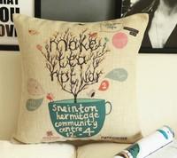 Wholesale Make Tea Not War Ikea Sofa Pillow Case Car Home Office Decor Cushion Cover 1pcs 45 *45cm  Free Shipping