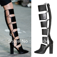 Free Shipping  New Sexy Ladies Gladiator Knee High Boots Leather Summer Sandals Booties Chunky Heel Sandals