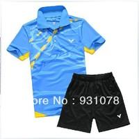 free shipping !New 2013 South Korea race VICTOR Mens/Woman Badminton / Tennis Polo Shirts+Shorts 8890