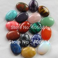 (Min.order 10$ mix) Free shipping (17pcs/lot)mixed natural stone Oval CAB CABOCHON