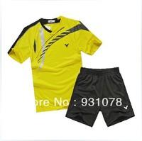 free shipping !Original edition New 2013 South Korea race suit VICTOR Mens Badminton / Tennis Polo Shirts+Shorts Black/Blue