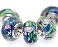 Wholesale Lots! Factory Price! 5 x Pieces 925 silver stamped core 4.5mm hole European Glass Beads Fit Bracelet TSH085