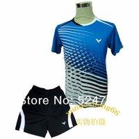wholesale!New 2013 South Korea VICTOR Mens Badminton / Tennis Sleeveless Shirt+shorts free shipping !