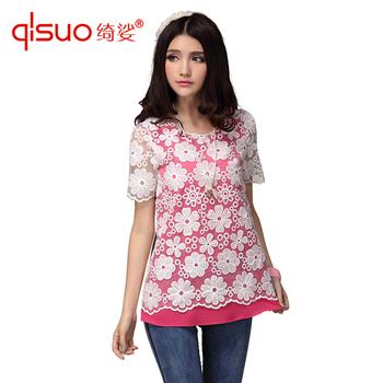 High quality plus size clothing 2 gentlewomen small fresh organza crochet chiffon t-shirt