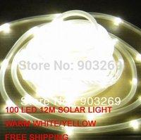 Free Shipping 100 LED 12M Warm White Solar Rope Light String Garden Light
