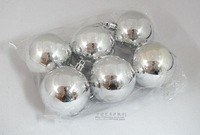 Christmas decoration christmas tree hangings light 5cm silver plated ball christmas ball 6piece