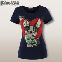 Beading paillette love cartoon high quality women's dog solid color short-sleeve T-shirt plus size half sleeve