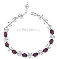 Free shipping Chain bracelet Natural garnet 925 silver plated 18k white gold Women jewels SMT#071706