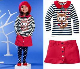 Wholesale 5 sets/lot Toddler Girls Red Squirrel Long Sleeve Cotton T-shirt and Short Skirt Autumn Clothing Set Kids Outfits