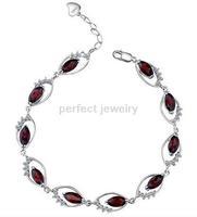 Free shipping Chain bracelet Natural garnet 925 silver ,plate 18k white gold Red gems SMT#071705