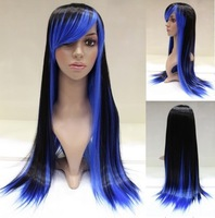 Free Shipping NEW Long Black and blue mixed Cosplay Party Wigs 80cm